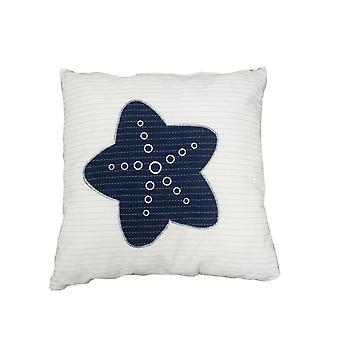 White Square Accent Pillow with  Nautical  Blue Star
