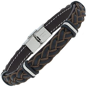 Bracelet leather black brown braided with stainless steel 21 cm