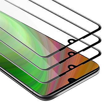 Cadorabo 3x Full Screen Tank Foil for Huawei P30 - 3 Pack Tempered Display Protective Glass in 9H Hardness with 3D Touch