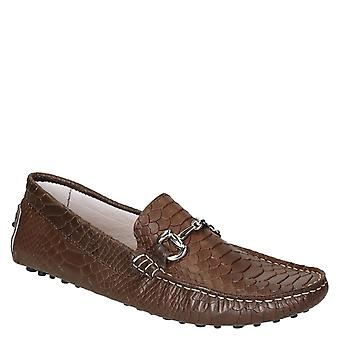 Brown crocodile textured leather driving moccasins for men