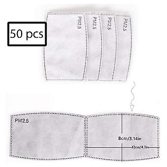 50 pieces PM 2.5 filters for face mask - mouth mask - gray
