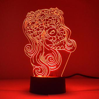 Kvinnelig Flower Candy Skull farge skiftende LED mini akryl lys