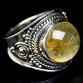 Rutilated Quartz Ring Size 6.25 (925 Sterling Silver)  - Handmade Boho Vintage Jewelry RING5585