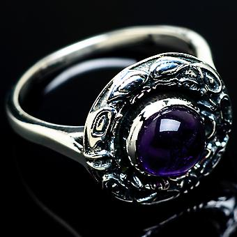 Amethyst Ring Size 8.25 (925 Sterling Silver)  - Handmade Boho Vintage Jewelry RING7449