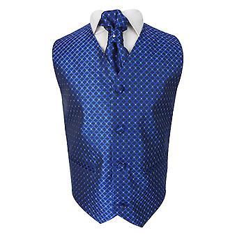 Boys 4 Piece Diamond Design Wedding Waistcoat Suit in Blue