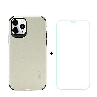 Voor iPhone 11 Pro Max Case Denim Texture Beige & Tempered Glass Screen Protector