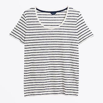 Gant - Striped Linen Tee - Persian Blue