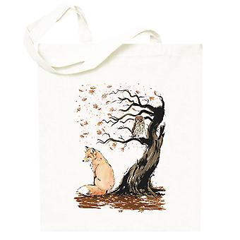 Animals Winds Of Autumn Fox And Owl Totebag