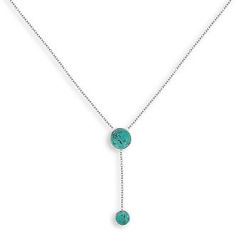 ADEN 925 Collier en forme ronde turquoise argenté sterling (id 4441)