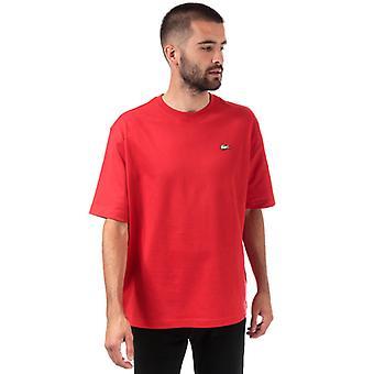 Men's Lacoste Loose Cotton T-Shirt en rouge