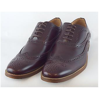 Goor Oxblood Burnished Pu 5 Eye Wing Capped Brogue Oxford Shoe Leather Quarter Lining & Sock Resin Sole