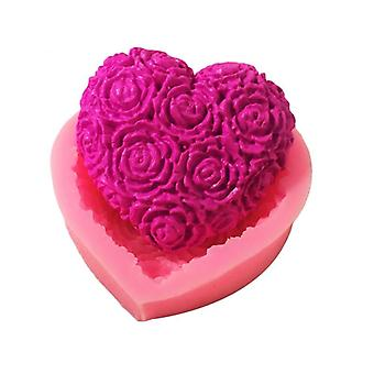 Lovely Heart Rose Flower Silicone Soap Mold - Dy Fondant Cake Making Supplies