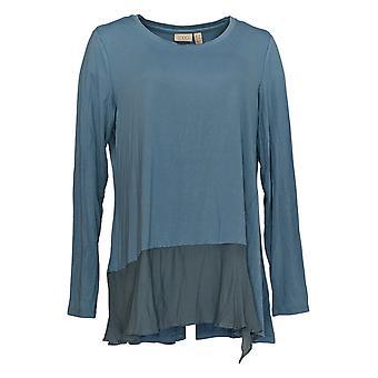 LOGO door Lori Goldstein Women's Top L Rayon 230 Asymmetrische Hem Blue A367067
