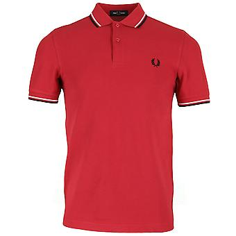 Polo Fred Perry Twin getipt Fred Perry Rood Shirt