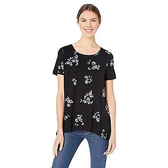 Essentials Women&s Wzorzysta koszulka swingowa scoopneck z krótkim rękawem, open ground classic floral black, XXL