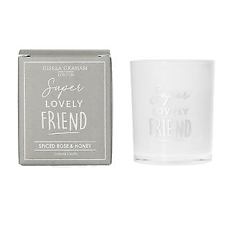 Gisela Graham Scented Candle - Super Lovely Friend - Spiced Rose and Honey