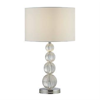 Searchlight Louis - 1 Light Table Lamp, Chrome, White Shade, E14
