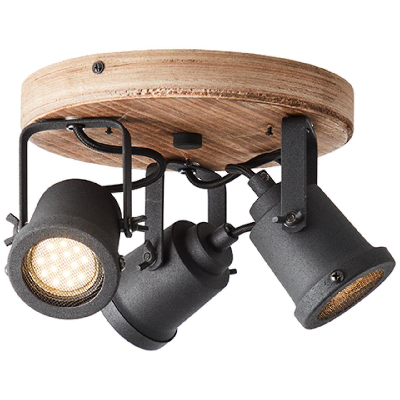 BRILLIANT Inge Spotrondell 3flg. holz dunkel/schwarz Innenleuchten,Strahler,-Rondell | 3x PAR51, GU10, 6W, geeignet für Reflektorlampen (nicht enthalten) | A++ | Köpfe schwenkbar