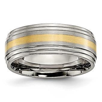 Titaani harjattu kiillotettu kaiverrus 14k kulta inlay 8mm harja / puola bändi korut lahjat naisille - rengas koko: 8-14