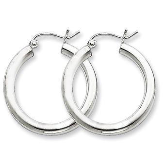 925 Sterling Silver Polished Hinged post 3mm Round Hoop Earrings Jewelry Gifts for Women - 2.5 Grams