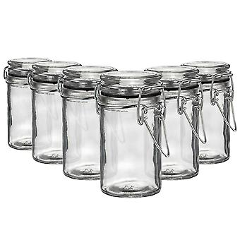 Argon Tableware Glass Storage Jars with Airtight Clip Lid - 70ml Set - Black Seal - Pack of 6