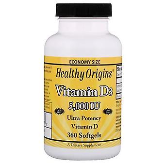 Origines saines Vitamine D3, 5000 UI, 360 Softgels
