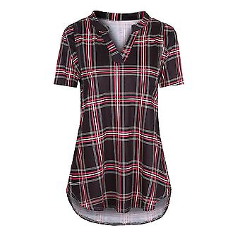 Maternity Summer Shirts Blouse For Pregnant Women Maternity Short- Sleeve Plaid