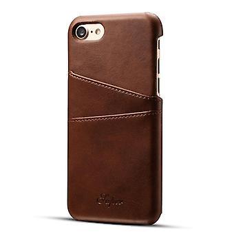Läderfodral med kortplats för Apple iPhone 6 / 6s Brown suteni-11