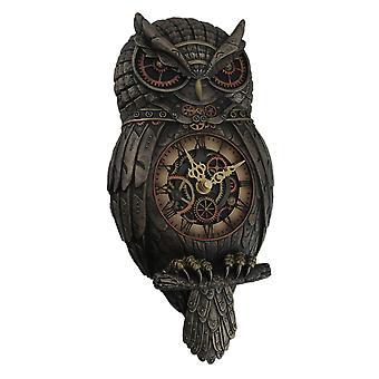 Metallic Bronze Finished Steampunk Owl Pendulum Wall Clock