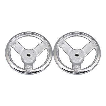 2 Pieces Silver Three Spoke Round Iron Industrial Hand Wheel 98mm Dia