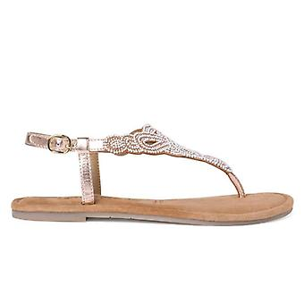 Tamaris rosa Kupfer mit Perlen Flip Flops