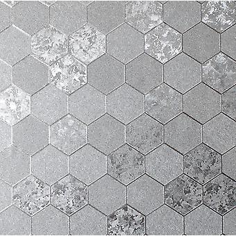 Honeycomb Crush Wallpaper Geometric Luxury Foil Textured Vinyl Silver Arthouse