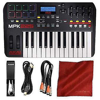 Akai professional mpk225 usb midi keyboard & drum pad controller with lcd screen + cables + basic accessory bundle