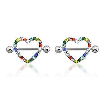Ab gem paved heart nipple shield ring piercing jewelry 14 gauge 3/4 length - 2