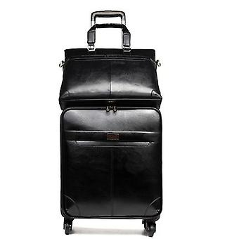 Leather Rolling Luggage Sets Spinner Men Business Suitcase Wheels Cabin