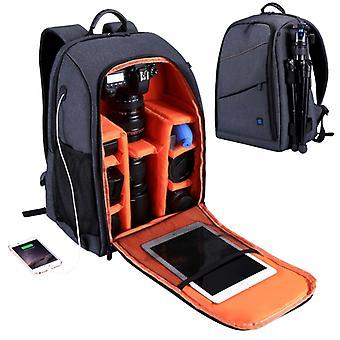 PULUZ Dış Taşınabilir Su Geçirmez Çizilmeye Dayanıklı Çift Omuz sırt çantası kamera çantası, yükseltme sürümü (gri)