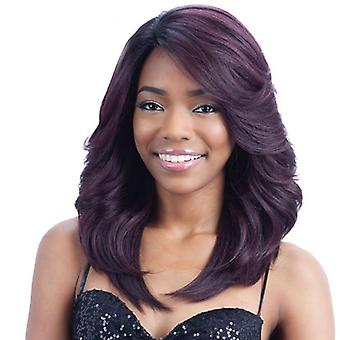 Women's Wig Black and Purple Mixed Color Long Curly Hair Fashion Realistic Wig