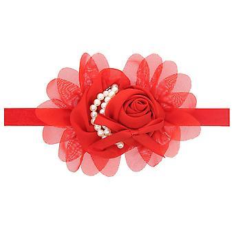 Elastic Ribbon Baby Girl Pearl Rose Flower Headbands for Newborn Infant Toddlers Kids
