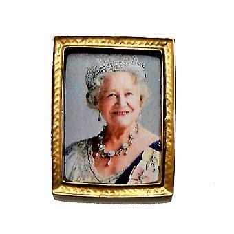 Dolls House The Queen Mother Elizabeth Portrait Picture Gold Frame