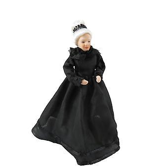 Dolls House viktorianska gamla damen i svart klänning porslin kvinna 1:12 personer