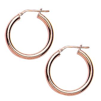 Jewelco London Ladies Rose Gold-Plated Sterling Silver # Round Tube Polished Hoop Earrings 27mm 3mm
