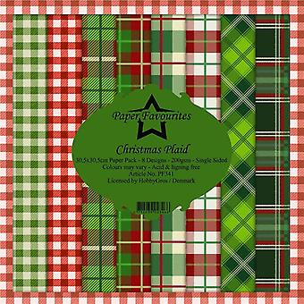 Paper Favourites Christmas Plaid 12x12 Inch Paper Pack