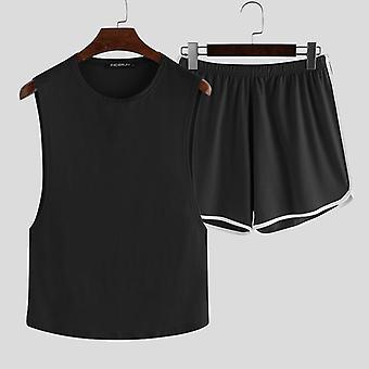 Vara Fashion Men Pijamale Seturi, Sleeveless O Gât Tank Tops Pantaloni scurți solide