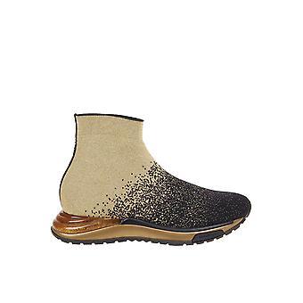 Salvatore Ferragamo 03000m742627 Damen's Schwarz/Gold Stoff Hi Top Sneakers