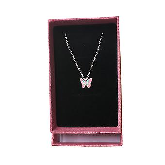Girls sterling silver and epoxy pink butterfly necklace