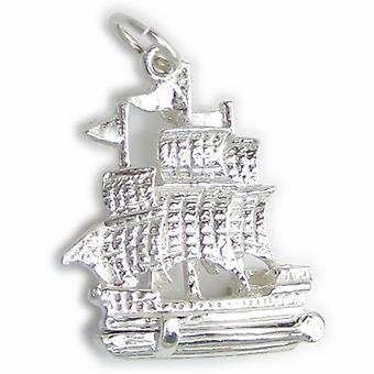 Galleon Ship Opening Sterling Silver Charm .925 X 1 Boote Schiffe Charms - 4506