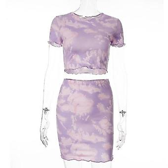 Tie Dye Vrouwen Tweedelige Set Crop Top T Shirt Mini Rok