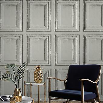 Rustic Wood Panel Wallpaper Grey Grandeco A49202