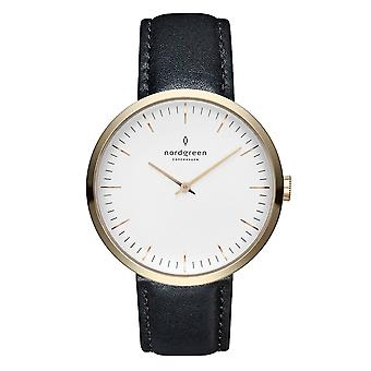 Nordgreen Ladies Infinity Leather Gold 32mm Watch IN32GOLEBLXX
