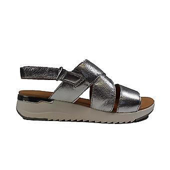 Caprice 28702-920 Silver Leather Womens Sling Back Sandals